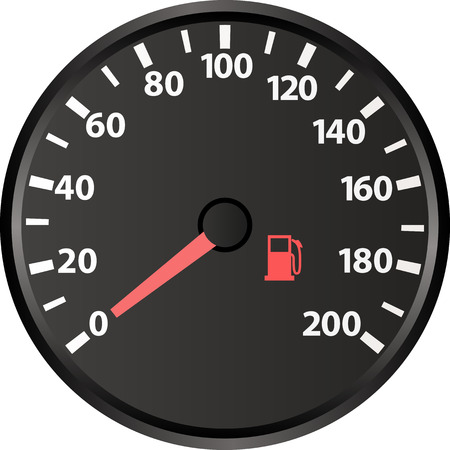 dashboard background: speedometer with the low fuel indicator Illustration