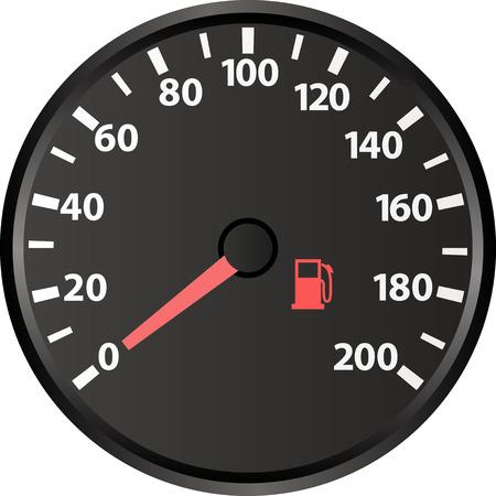 speedmeter: speedometer with the low fuel indicator Illustration