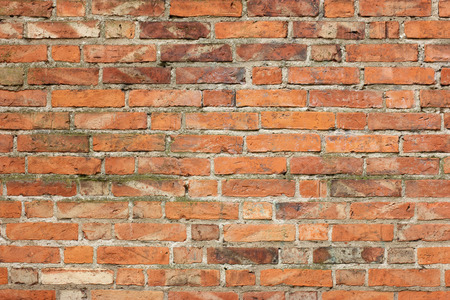 Old red brick wall - full scale background Stock Photo