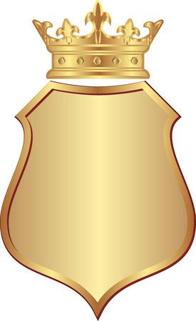 corona rey: aislado escudo de oro con corona