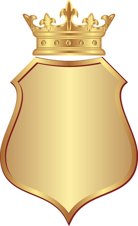 king  crown: isolated golden shield with crown