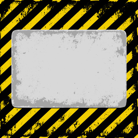 hazard stripes: danger background with gray plate