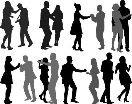 Silhouetten von Tänzern Vektorgrafik