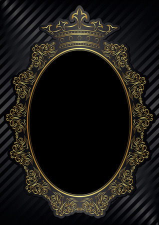 royal background: black background with royal frame