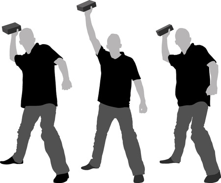 throw up: silhouette of man throwing objects