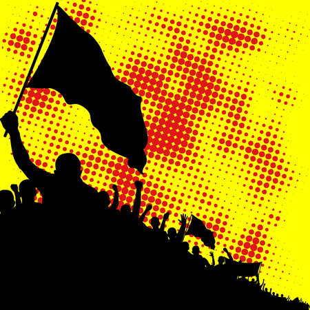 demonstrate: yellow and red background with crowd silhouette