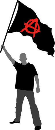 anarchy: man holding a flag with anarchy symbol