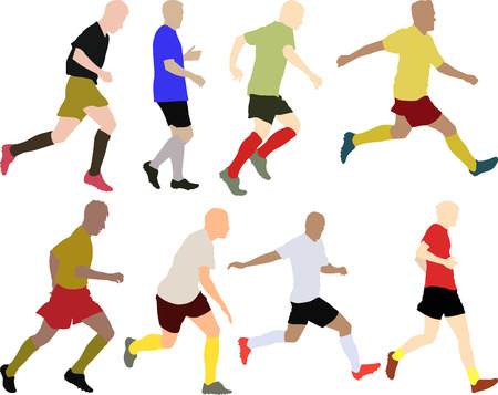 match head: set of silhouettes football players