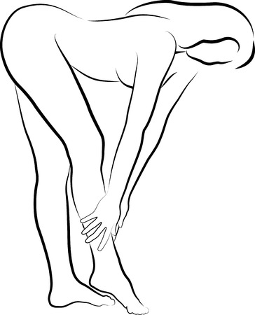 sketch of woman is creaming and massaging her leg