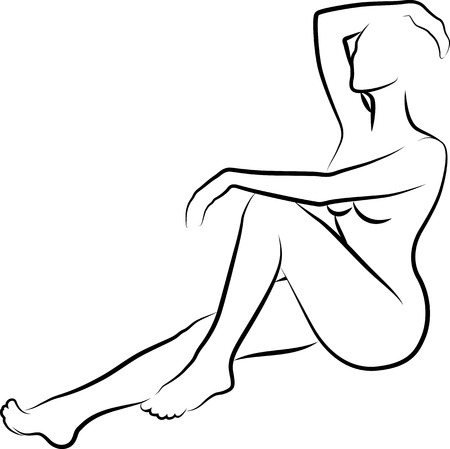 naked woman sitting: sketch of naked women