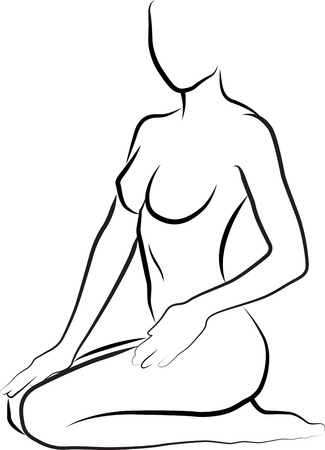 sketch of woman is creaming and massaging her legs