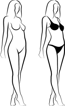 donna completamente nuda: schizzo di una donna nuda e una donna in bikini