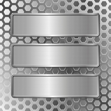 tread plate: silver background  with three plaques
