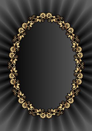 brushed gold: black background with goldenfloral frame