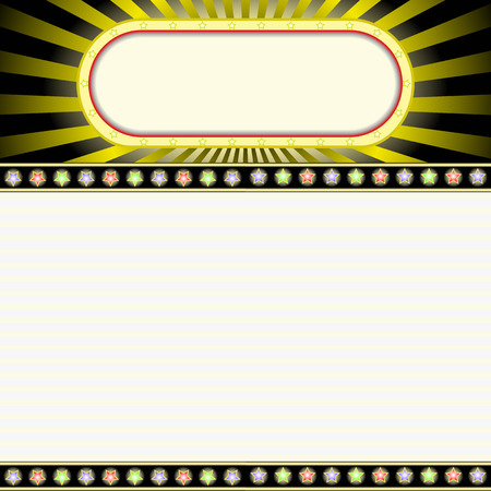 marquee: movie marquee blank neon lights sign with glowing billboard Illustration