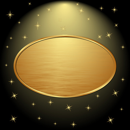 gold plaque: golden banner on black background with stars