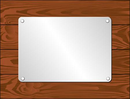 wooden plaque: silver plaque on dark wooden planks