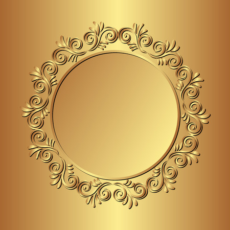 golden border: golden background with floral border Illustration