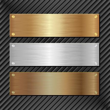 placa bacteriana: tres banderas met�licos sobre fondo negro Vectores