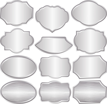 shone: set of isolated silver plaques Illustration