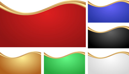 shone: set of isolated abstract banners with golden divider