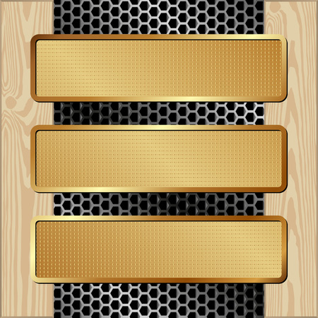 tread plate: three banners on metal and wooden background Illustration