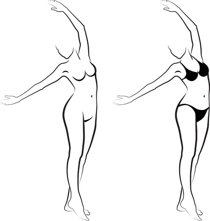 female nudity: sketch of a naked woman and woman in bikini Illustration