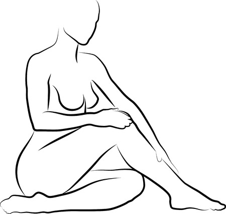 naked woman sitting: sketch of woman is creaming and massaging her legs