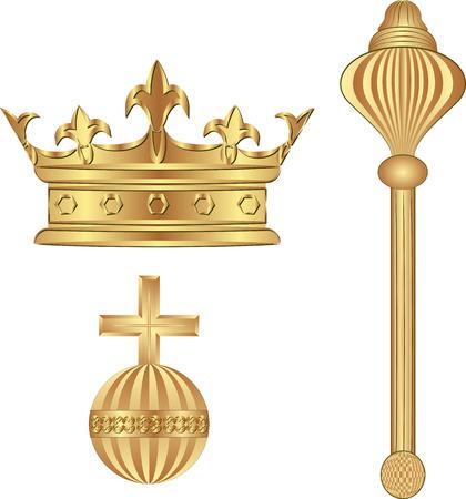 symboles royaux - la Couronne; sceptre; orbe Vecteurs