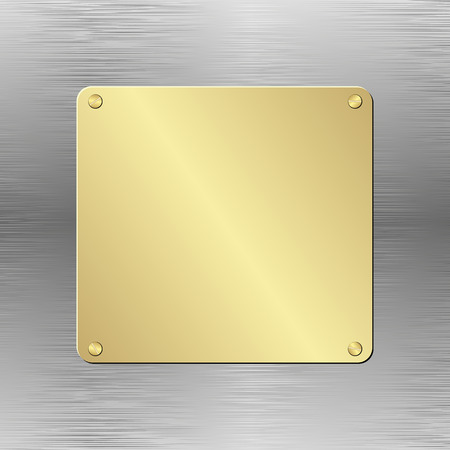 placa bacteriana: fondo met�lico con placa de oro Vectores