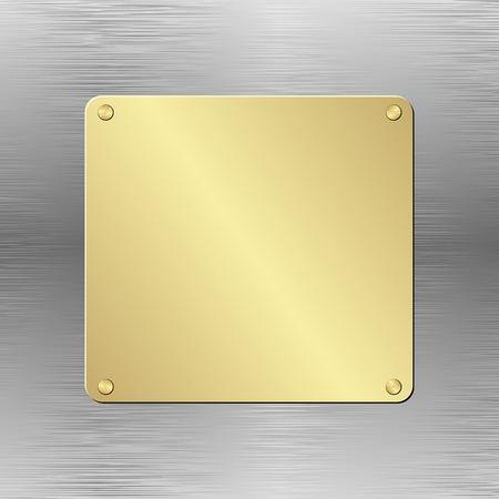 metallic background: metallic background with golden plaque
