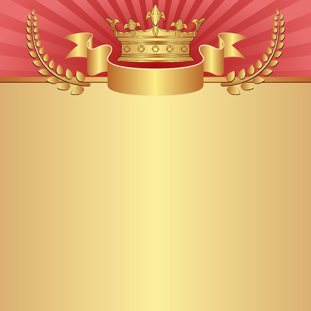 shone: red and golden background with crown