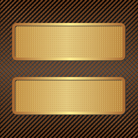 golden frames: two golden banners on textured background