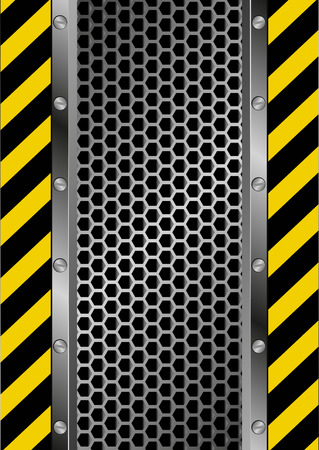 hazard tape: danger sign and grate background