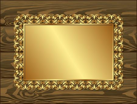 Marco de oro en los tablones de madera oscura Foto de archivo - 36465820