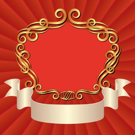shone: vintage background with golden frame decorative and tape Illustration