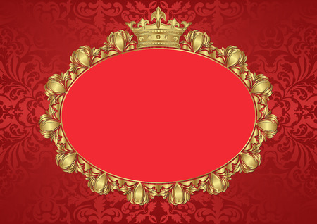 shone: vintage background with golden frame and crown