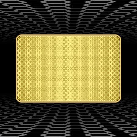 plaque: golden plaque on black background Illustration