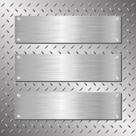 three steel plaques on iron background Vectores