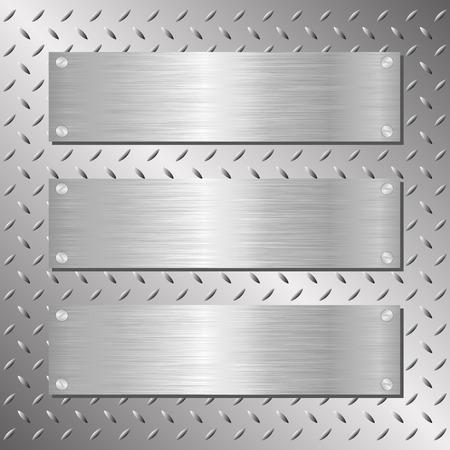 tres placas de acero sobre fondo hierro Vectores