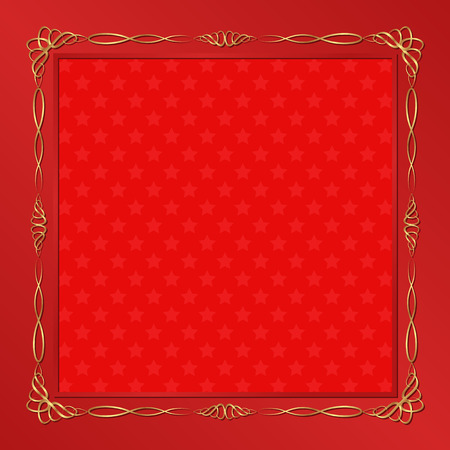 shone: red background with golden frame Illustration