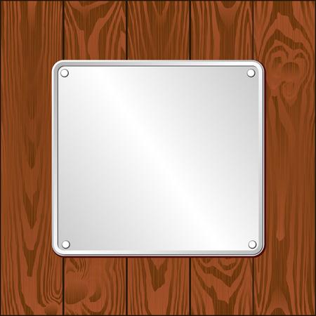 wooden plaque: white plaque on dark wooden planks