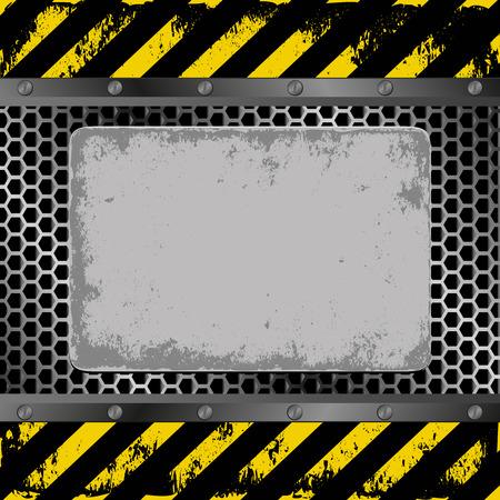 hazard tape: danger background with grunge plaque