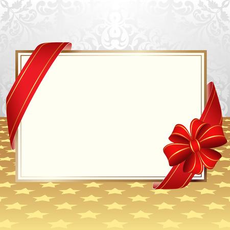 carte invitation: carton d'invitation avec des rubans sur fond d�coratif