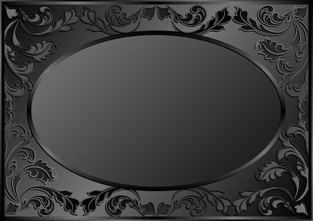 black satin: black background with vintage frame