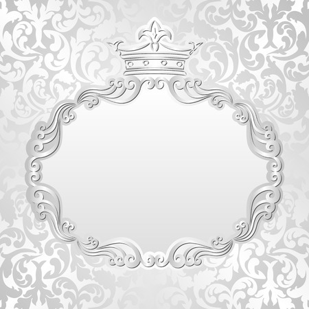 claret: silver background with vintage frame and crown