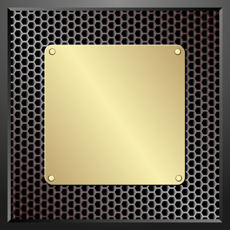 plaque: golden plaque on dark textured background