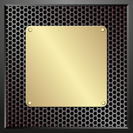 placa bacteriana: placa de oro sobre fondo de textura oscura