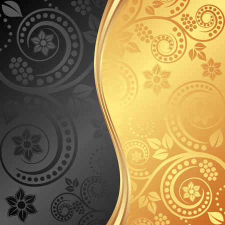 the divided: black and golden background divided into two Illustration