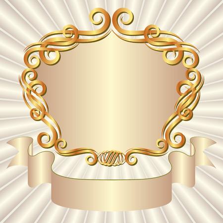 perl: vintage background with decorative frame Illustration